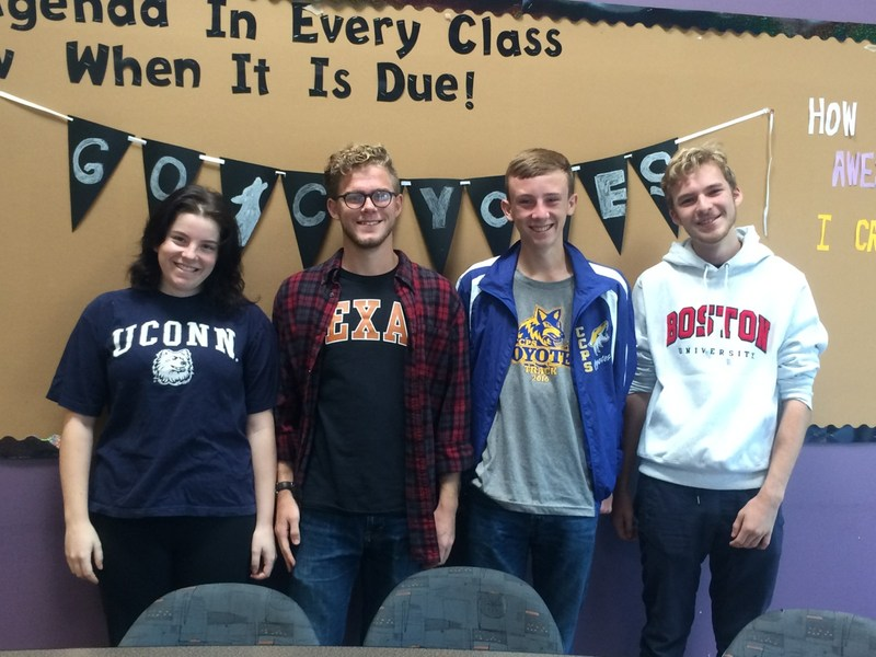 National Merit Semifinalists (from left to right):  Kayla Fallick, Joel Robinson, Conner Stanfield, Bruce Rehn