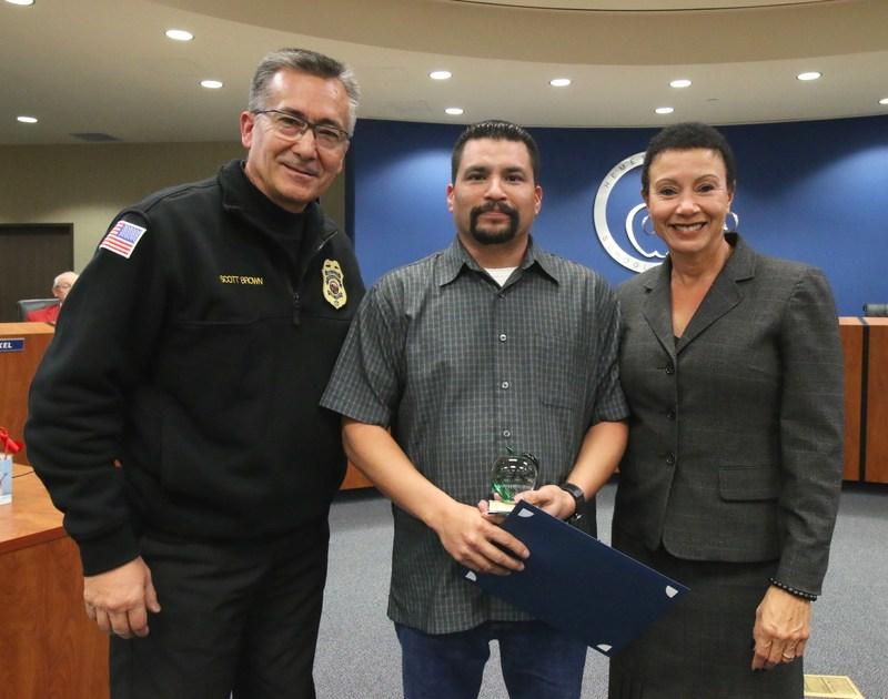 Chief of Fire Scott Brown, Bus Driver Gabriel Figuero, and Deputy Superintendent Dr. LaFaye Platter