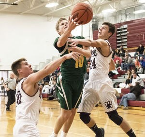 Zach Goodline driving to basket