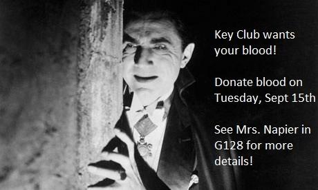 Key Club Blood Drive! Tuesday, September 15!