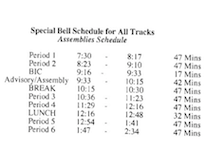 Special Standards of Behavior Bell Schedules for July 6th, 8th, and 9th