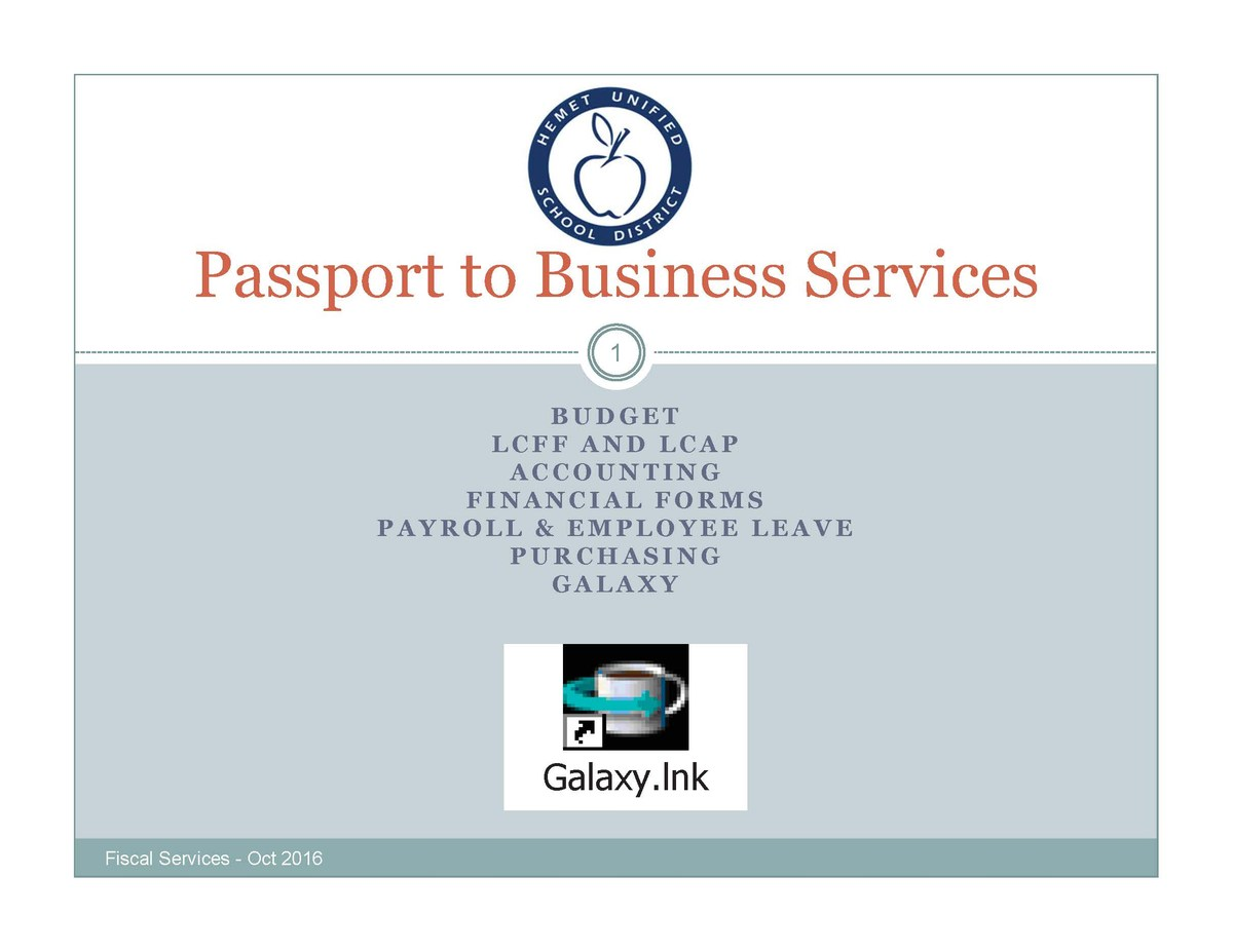 Passport to Business Services presentation cover