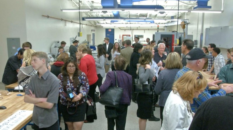 Visitors gathered in the Saugus High MakerSpace for student demonstrations during the Grand Opening event.