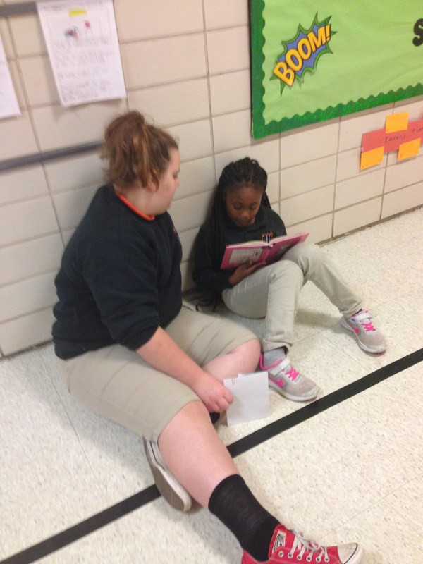 Fifth graders reading to First graders Thumbnail Image
