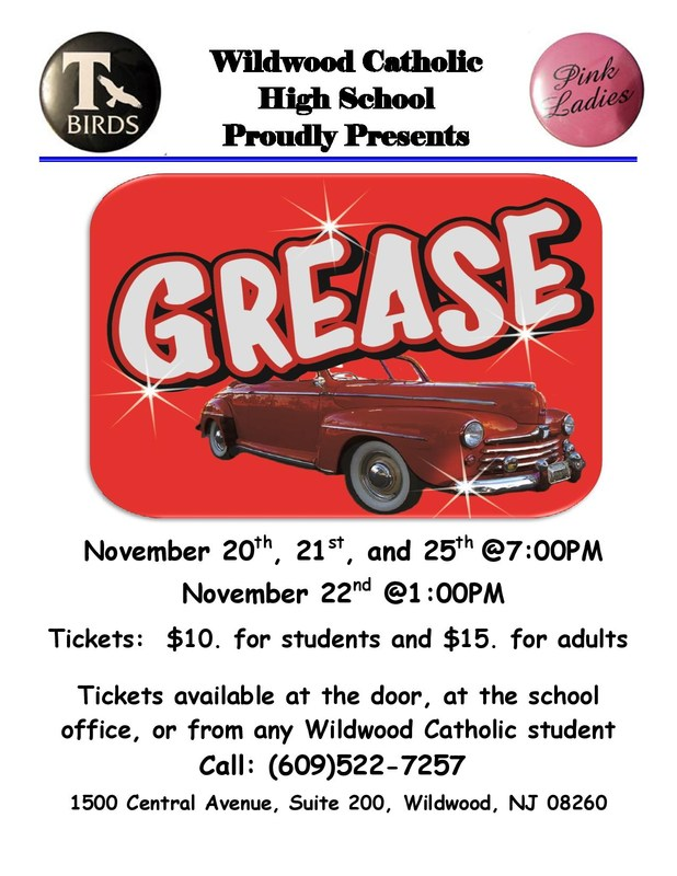 "Wildwood Catholic Proudly Presents ""Grease"""