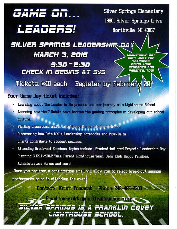 GAME ON, LEADERS!  Silver Springs Leadership Day Scheduled for March 3rd.