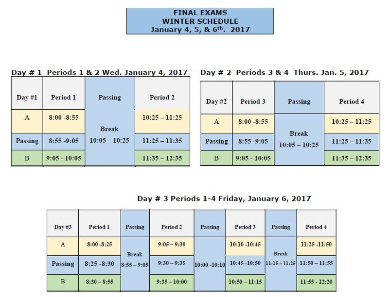 FInals Schedule Jan. 4th,5th & 6th Thumbnail Image
