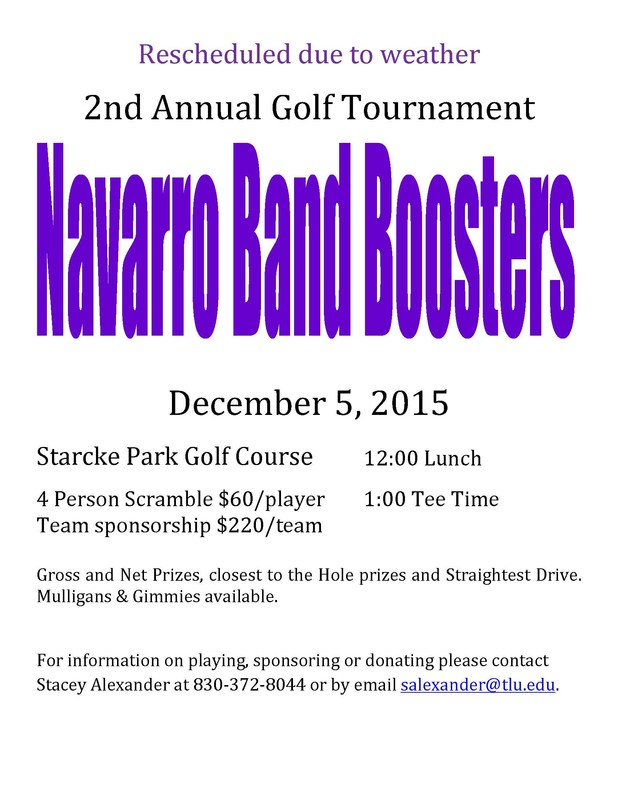 Upate - Rescheduled Due to Weather - 2nd Annual Band Booster's Golf Tournament - December 5, 2015