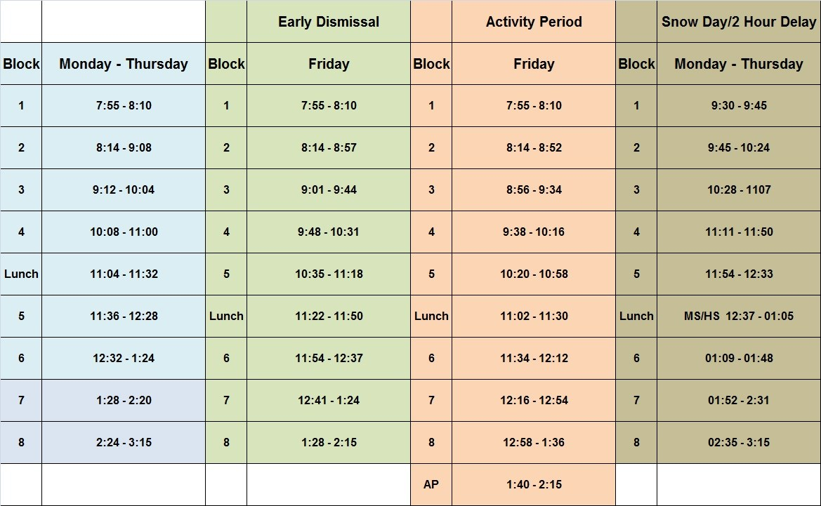 Middle School Class Schedules Middle School Class Schedule
