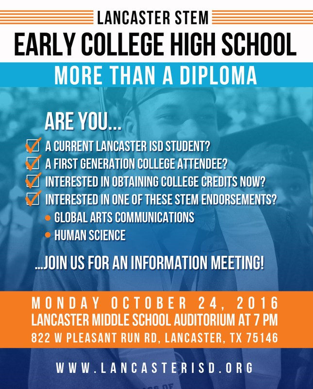 Lancaster STEM Early College High School Information Meeting Thumbnail Image