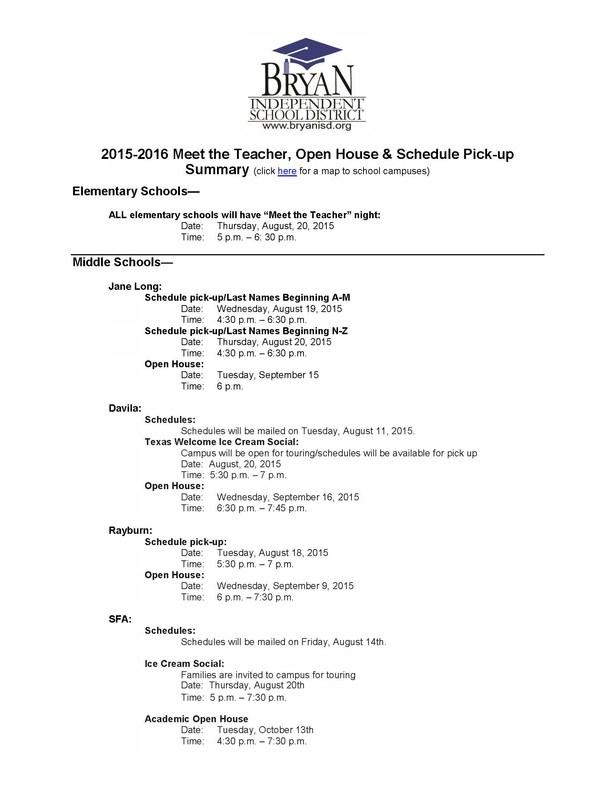 2015-2016 Meet the Teacher, Open House & Schedule Pick-up Summary
