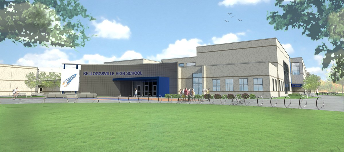 Rendering of the outside of the new High School