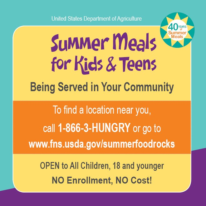 Summer Meals for kids and teens are available
