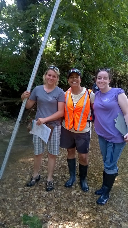 Teachers, wading boots, creek bed, STEM training