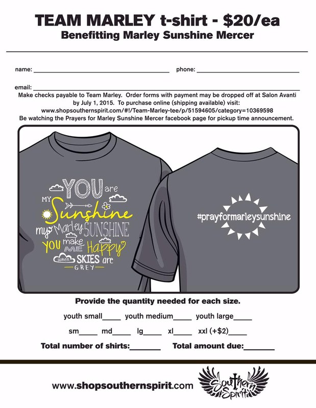 T-Shirt Fundraiser for Marley Sunshine Mercer