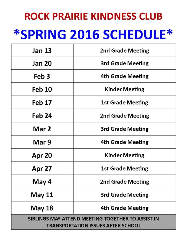 Spring 2016 Kindness Club Schedule - See you Soon!!