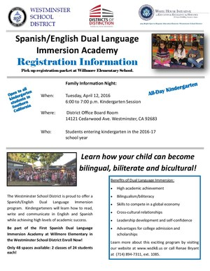 Spanish Dual Immersion Program Flyer
