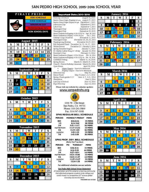 Calendar and Bell Schedules for the 2015-2016 School Year