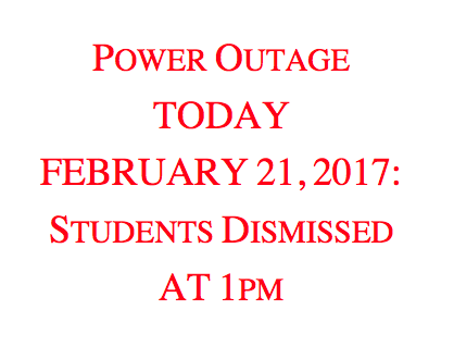 Power Outage:  Students Dismissed at 1pm Thumbnail Image