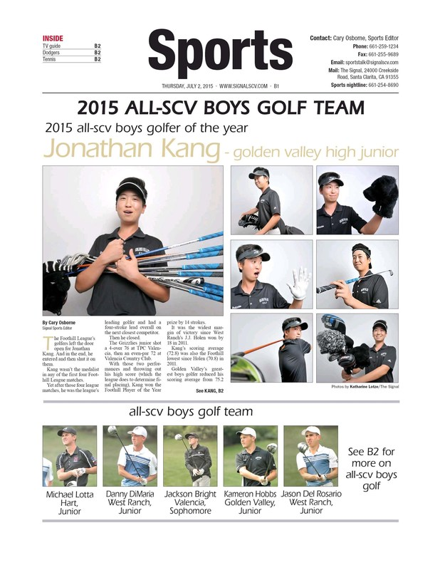 Kang repeats as SCV's Best Male Golfer