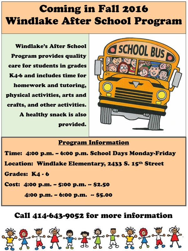 After school program flyer. Call for details