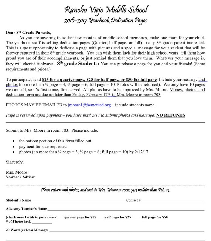 8th grade dedication pages 2016 2017 order form please click here to download form.