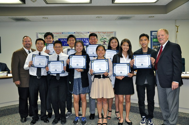 Board Honors Walnut High FBLA and Science Olympiad Students