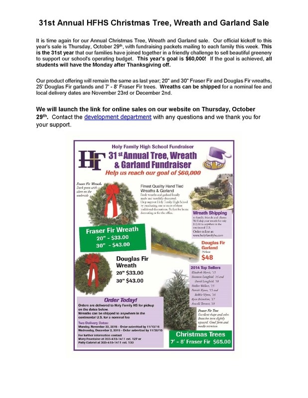 31st ANNUAL TREE, WREATH, AND GARLAND SALE