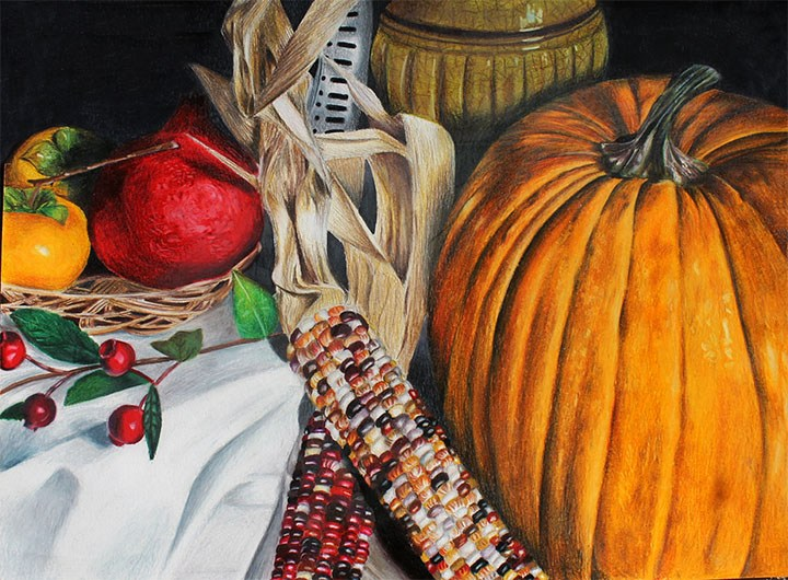 "Still life drawing ""Autumn's Fruits"" by Chiaki Ma"