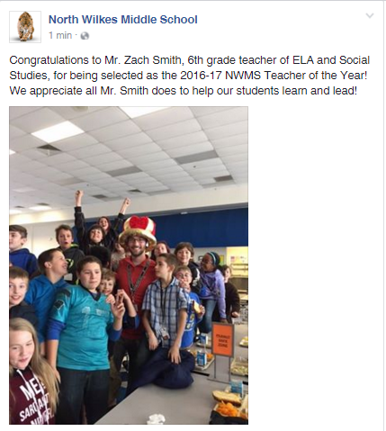 Zach Smith is North Middle's Teacher of the Year! Thumbnail Image