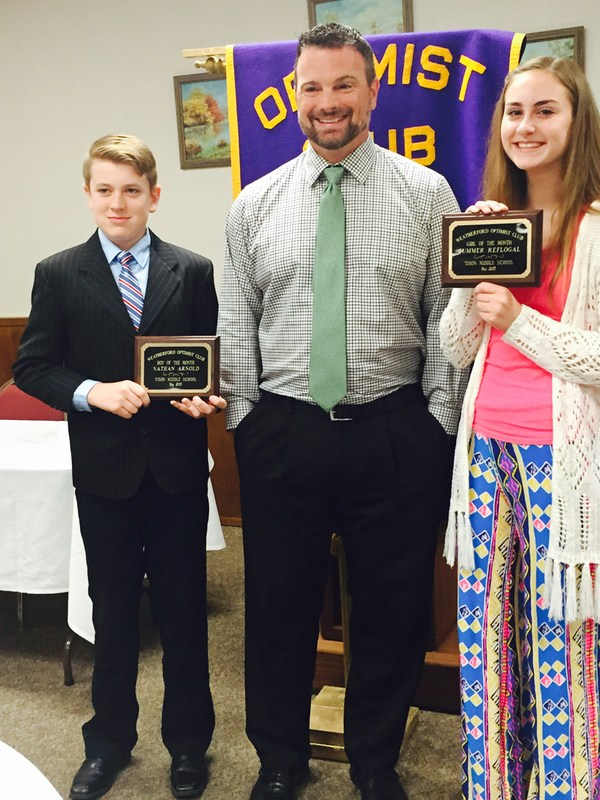 Tison Middle School students named Optimist Boy, Girls of the Month