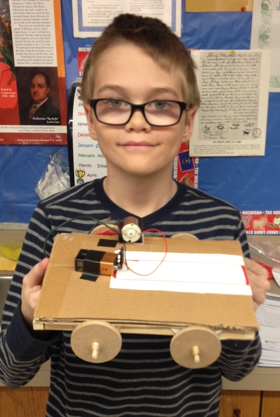 boy with battery project