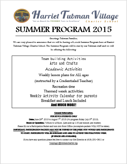 !!! HTVCS  6-WEEK SUMMER PROGRAM !!!