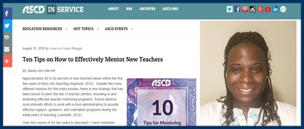BVES Teacher Stacey-Ann Barrett offers 10 Tips on Mentoring New Teachers Thumbnail Image