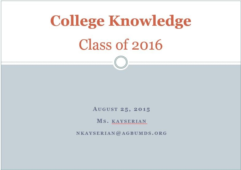 """Seniors Attended """"College Knowledge Night"""""""