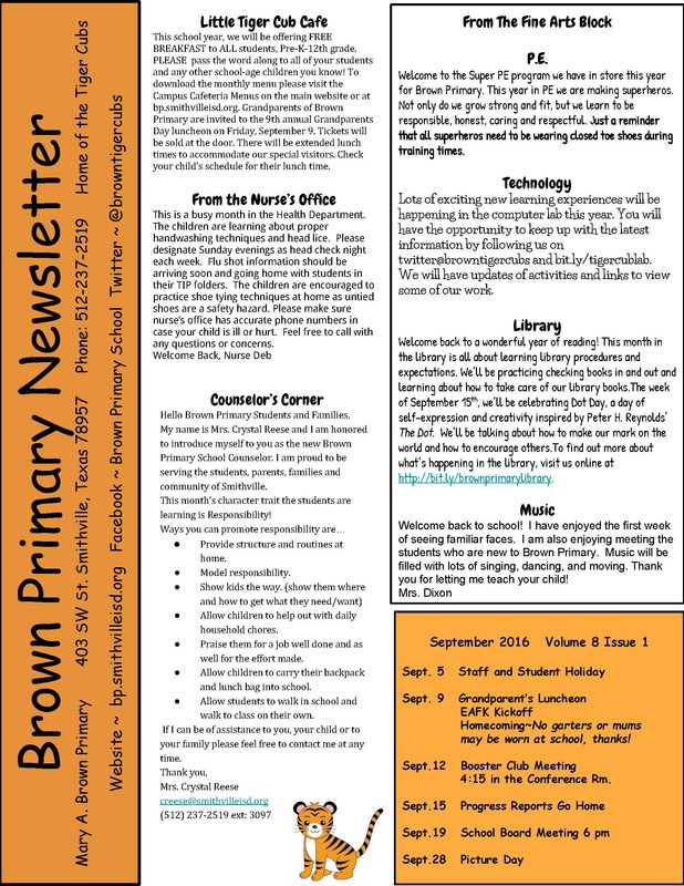 Brown Primary September Campus Newsletter Thumbnail Image