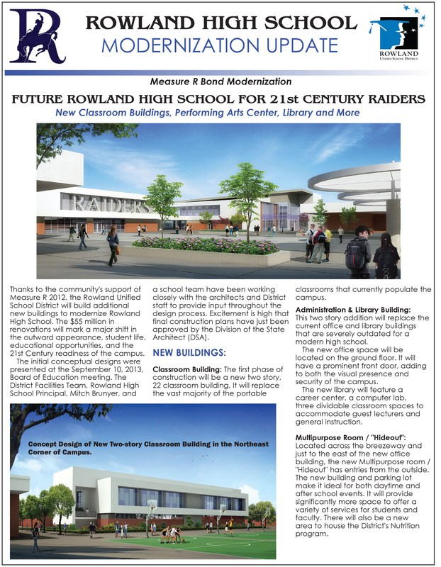 Rowland High School Modernization Update