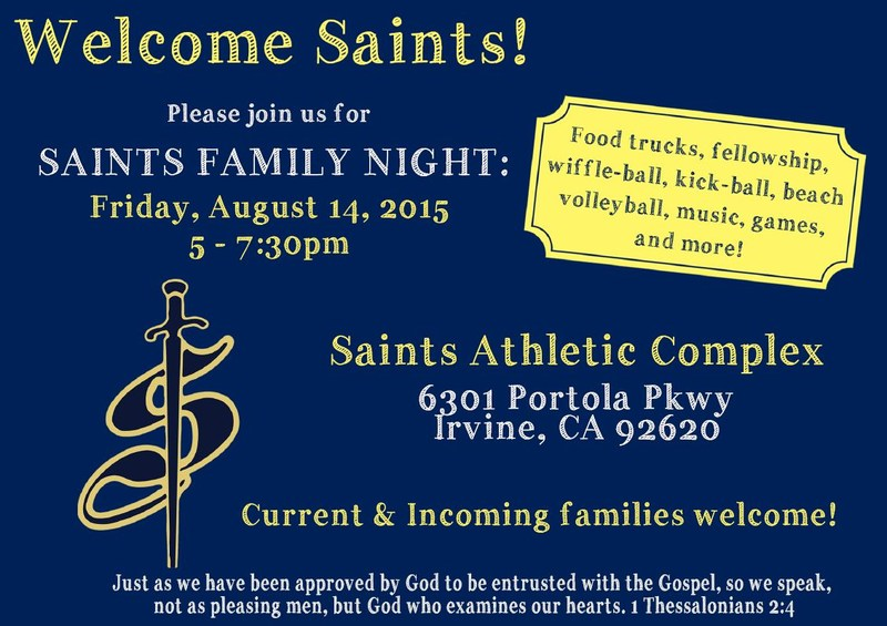 Saints Family Night: Friday, August 14, 5:00-7:30pm
