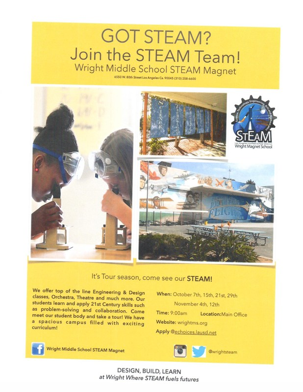 Wright Middle School STEAM Magnet Tour Dates