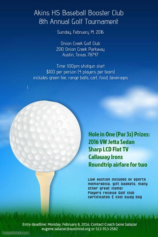 8th Annual Golf Tournament rescheduled for Feb. 14, 2016.