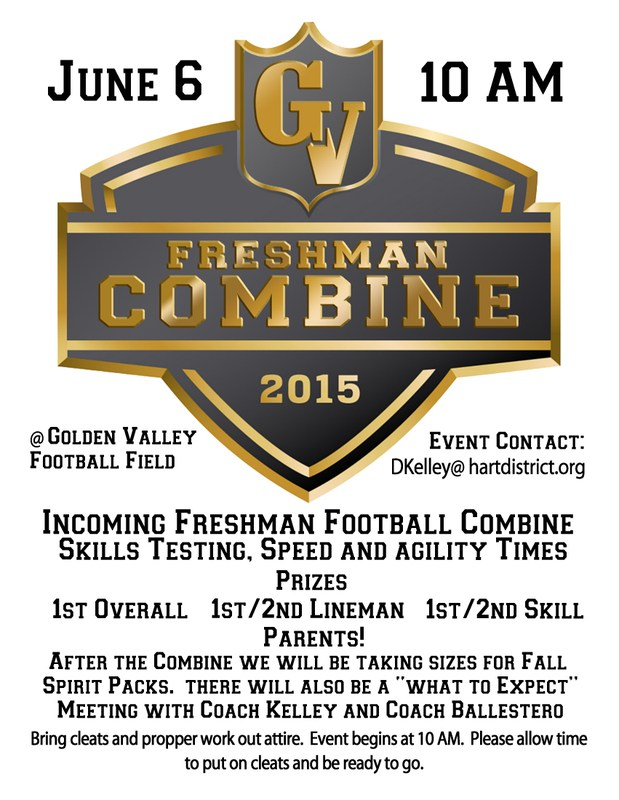 GV Football Combine is Saturday June 6th at 10am.