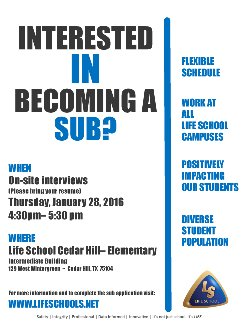Life School substitute fair - January 28, 2016
