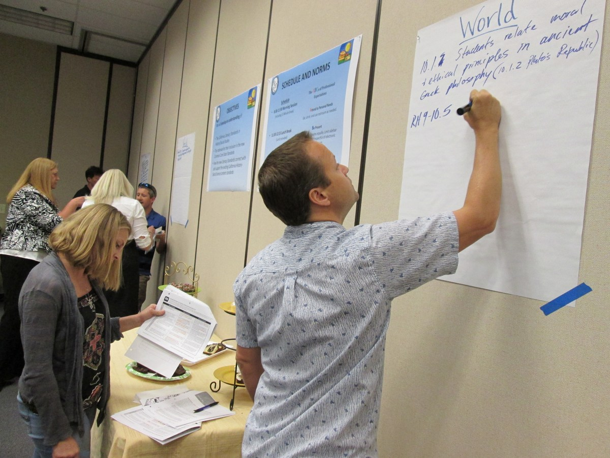 High School teachers create a poster on the wall for Social Studies Training.