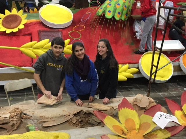 """AGBU MHS Students Contributing to the """"Discover Armenia"""" float for the 127th Tournament of Rose Parade"""