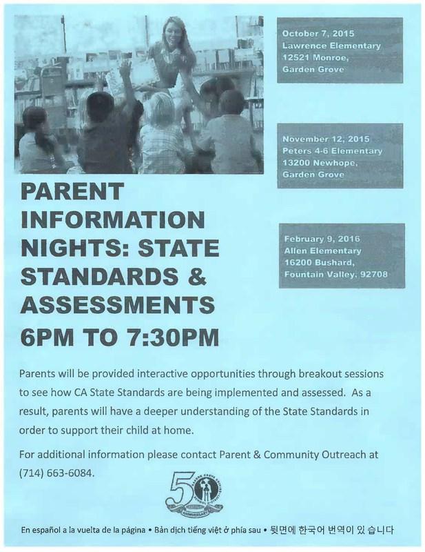 Parent Information Nights: State Standards & Assessments
