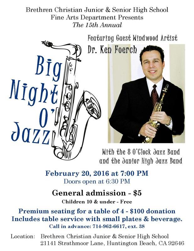 BIG Night O' Jazz ~ SATURDAY ~ February 20