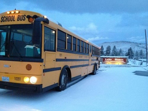 Hemet Unified bus parked in the snow