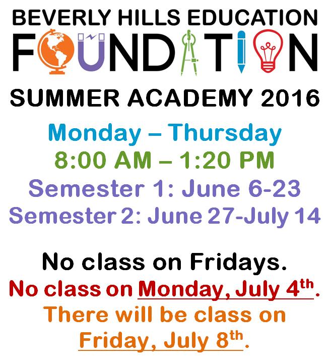 Summer Academy 2016 Dates