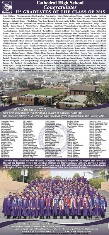 LA Times Ad, Congratulating the Class of 2015