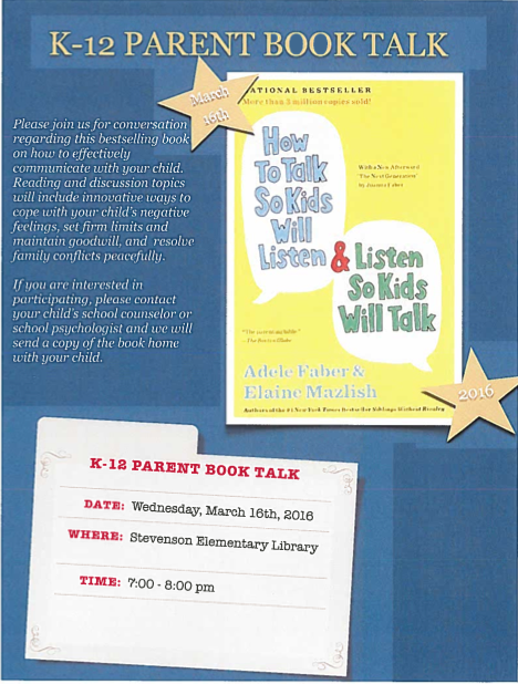K-12 Parent Book Talk - March 16, 2016